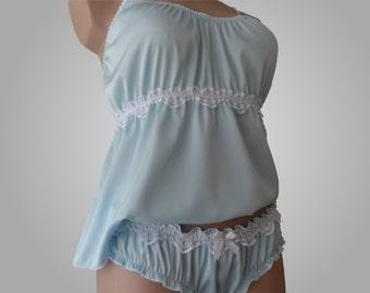 Set of blue silk cami and ruffled panties