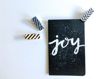 """3x5 White on Black Hand-Painted """"JOY"""" Moleskine Cashier's Journal/Notebook(LINED)"""