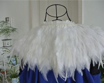 White hackle feather cape feather jacket feather shawl feather cape 3 ply Carnival feather shoulder shrug