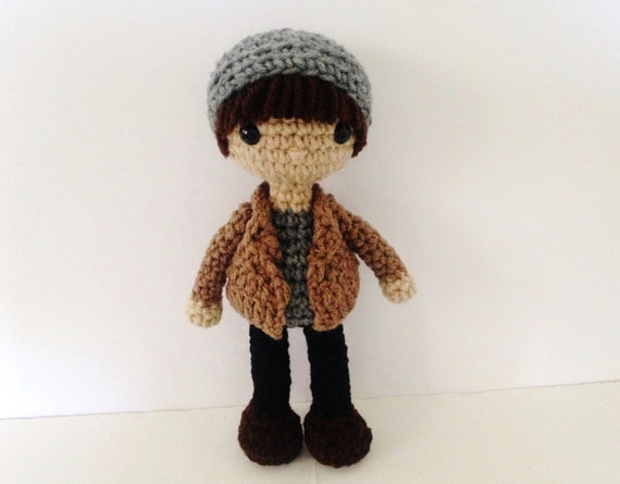 Crochet Boy Doll Amigurumi Boy Gray Doll by HelloSweetKids ...