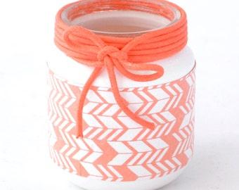 Candle holder Lantern white and coral motif inka