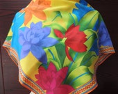 Fiesta Bold Floral: Colorful Vintage Silk Scarf, Summer Carnival Party, Mid Century Retro Gift. 31 inch Headscarf. Add a Charm Scarves SC81
