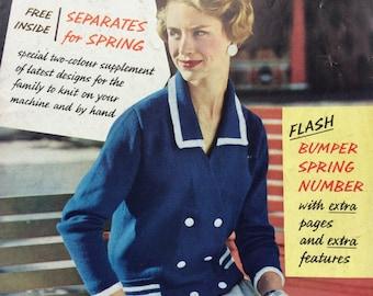 Stitchcraft March 1958 vintage 1950's magazine knitting crochet sewing cross stitch patterns