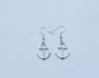 ON SALE Anchor Earrings, Silver Anchor Earrings, Anchor Charms, Anchor Jewelry, Nautical Earrings, Beach Earrings, Charm Earrings, Anchors,