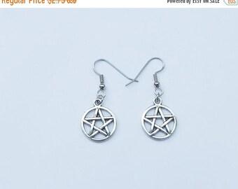 ON SALE Pentagram Earrings, Pentacle Earrings, Silver Pentagram Earrings, Pentagram Charm, Pentacle Charm, Wiccan Earrings, Wiccan Jewelry,