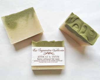 Savon Avocat & Thym, Savon artisanal fait main 100% naturel, Avocado Thyme Soap, Cold process All Natural Handmade Soap