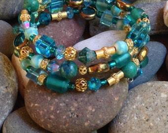 Memory Wire Wrap Bracelet, Aqua, Turquoise, Gold