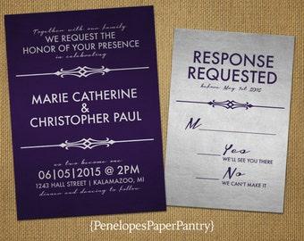 Purple and Silver Wedding Invitations,Elegant Romantic Design,Purple,Shimmery Silver Paper,Opt RSVP Card,Customizable,White Envelopes