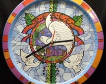Christmas Dove of Peace Theme Clock,Red,Blue,White,Green, Purple and Orange color scheme# C6039 (stand is display only)