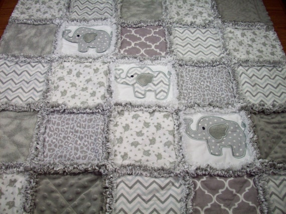 Grey Elephant Baby Rag Quilt Rag Quilt Baby By