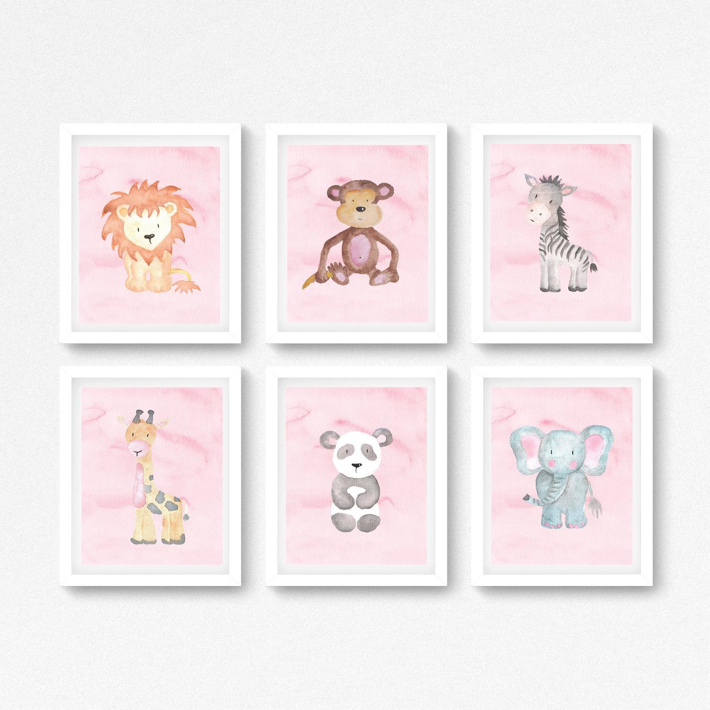 pink safari baby shower gift baby girl nursery wall art