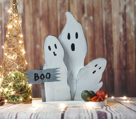 Reclaimed wood ghosts rustic halloween decor primitive for Wood decoration patterns