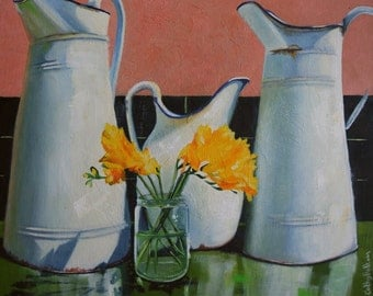 Original Oil Painting of Vintage  Pitcher Jugs and yellow flowers