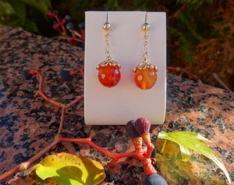 Earrings with genuine carnelian in 585-er silver, yellow gold filled!