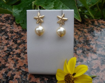 Gold Earrings with bead, 585 gold filled ear studs starfish