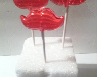 12 Mustache hard candy lollipops