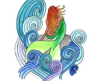 Mermaid Watercolor Art Print   Gifts for Her   Home Decor   Wall Art   Children's Room   Nursery Art   Mermaids   Birthday Gift