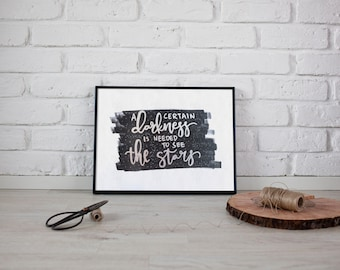 Hand lettered stars quote