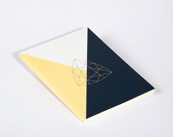Modern Notebook Yellow Diamond Trilliant Cut with Gold Foil
