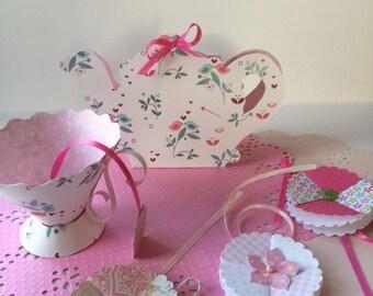 Paper tea set, birthday party favors, shower decorations, party decorations, party favors, tea party decorations