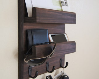 Midnight Woodworks Original Entryway Organizer Key Rack Mail Holder Key and Coat Hooks