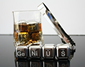 Whiskey Rocks - Periodic Table - Science Gift - Whiskey Ice - Engraved - Scotch Stones - Bourbon stones - Gift for Him - Boyfriend Gift