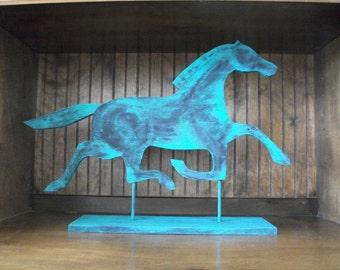 Horse Shelf, New Primitive Americana Folk Art, Weathervane Silhouette Flat Wood Cutout Shape, Indoor Horse Decor, Farm Barn Rustic Home Art