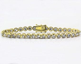 "6.00ct Prong Set Round Diamonds in 18K Yellow Gold Tennis Bracelet - 7.5"" - CUSTOM MADE"