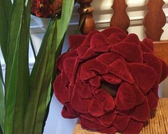 Flower Shaped Pillow, Red Flower Pillow, Dahlia Pillow, Rose Pillow, Red Pillow, Floral Pillow, Velvet Pillow