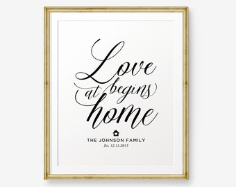 SALE Personalized Family Printable, Love Begins At Home, Housewarming Gift, Anniversary Gift, Wedding gift, Family Sign