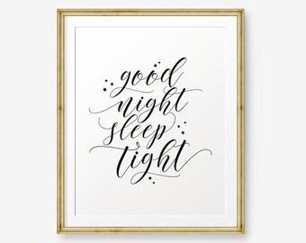 Good Night, Sleep Tight, Nursery decor, Bedroom Wall Art, Kid Bedroom Decor, Good night poster, Bedroom Art