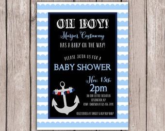 PRINTABLE- Nautical Baby Shower Invite- Anchor Baby Shower Invite- Baby Shower Invite- 5x7 JPG