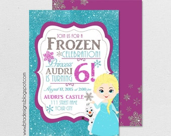Frozen Princess Birthday Party Invitation 1, Elsa, Anna, All Characters, Customized, Digital File