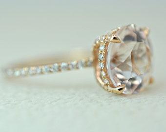 3.60 Ct. Round Cut Morganite & Diamond Engagement Ring on 14K Rose Gold