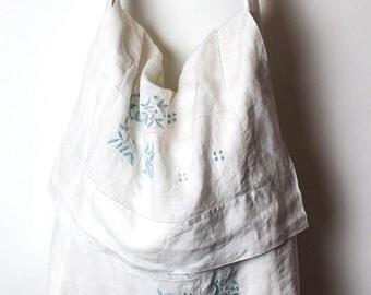 Boho Chic Upcycled Vintage Linen Messenger/Shoulder Bag/Handmade