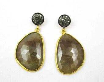 20% off Sapphire earrings, genuine sapphire earrings, sapphire diamond earrings, gemstone earrings, fine earrings, estate jewelry,estate ear