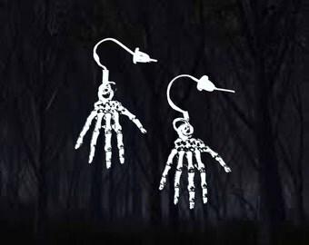 50% SALE Skeleton Hand Earrings..Skeleton Earrings..Zombie Earrings..Halloween Earrings..Halloween Jewelry..925 Silver Wire..FREE SHIPPING