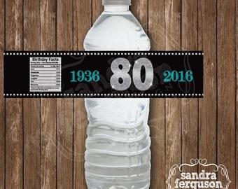 Personalized Birthday Milestone Water Bottle Label   Birthday party   water bottle   birthday label   milestone birthday   DIGITAL FILE