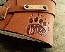 50% OFF! Just Go Paw Print Leather Journal...Refillable Notebook...HUGE SALE!!! Made in Portland, Oregon..Small only 20 dollars!