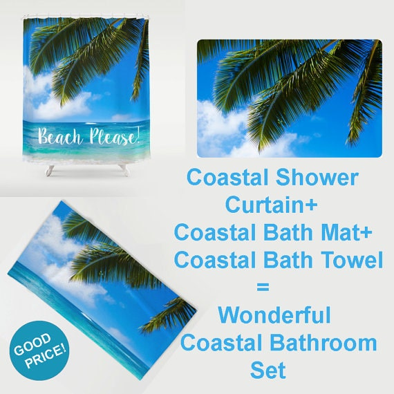 Turquoise And White Ocean Waves Shower Curtain Bathroom Decor Coastal Style  Shower Tropical Wave Beach House Decor Turquoise Bath 71x74 Inch
