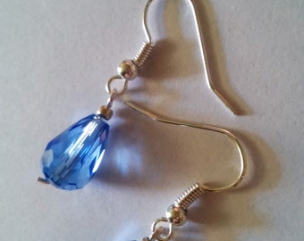 Light Blue Glass Dangle Earrings