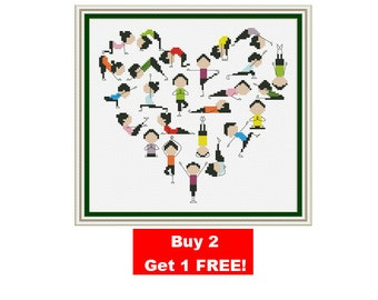 I love yoga Cross Stitch Pattern, Funny cross stitch, sport, counted cross stitch pattern