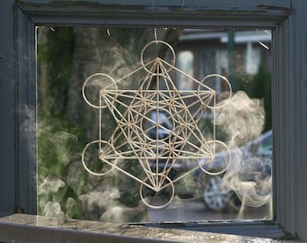 "Metatron's Cube Window Hanging  - 14"""