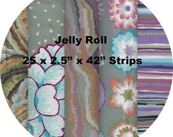 "Quilters Jelly Roll 2.5"" X 44"" (6.5cm x 110cm) strips x 25 - Kaffe Fassett Collective 2016 - GREY #1"