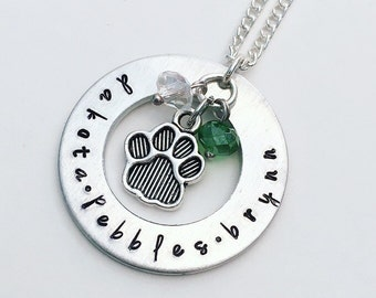 Dog Name Suspended Charm Hand Stamped Necklace (Benefitting The Seeing Eye)