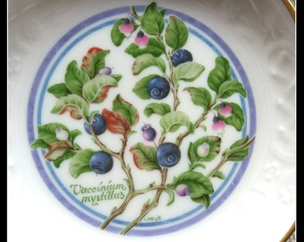 Vintage Nordic berries collectable small wall hanging plate, blueberry by L. Helje