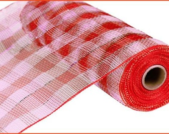 """10""""X10yd Plaid  Deco Mesh-Red/Pink W/Red Foil / RE131086"""