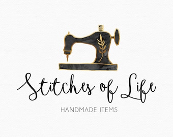 Vintage Sewing Machine Logo Design , Seamstress Logo , Sewing Logo , Watercolor Sewing Machine , Black and Gold , Hand drawn , stitches logo