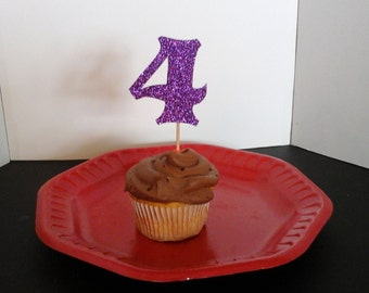 4th Birthday  Cake Toppers...4th Cupcake Toppers... Set of 12...Number 4 in Glitter-choose your Color