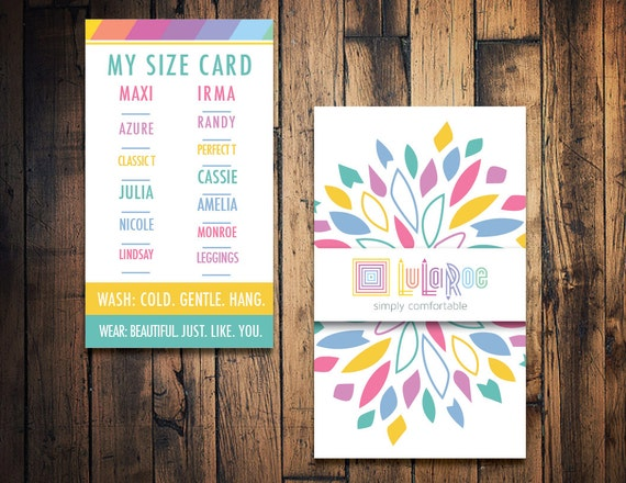 Lularoe size card lularoe clothing size card by for Lularoe name cards